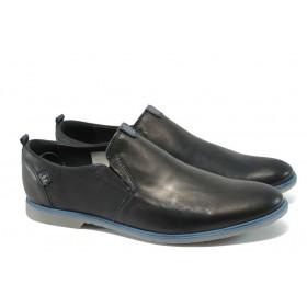 Мъжки обувки - естествена кожа - черни - EO-6132
