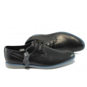 Спортно-елегантни мъжки обувки - естествена кожа - черен - EO-6194