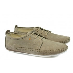 Мъжки обувки - естествен набук - бежови - EO-6205