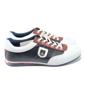 Спортни мъжки обувки - висококачествена еко-кожа - тъмносин - EO-6230