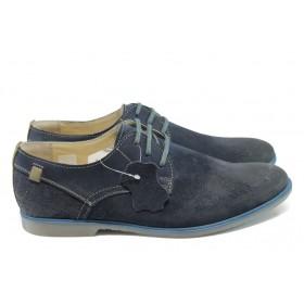 Спортно-елегантни мъжки обувки - естествен набук - сини - EO-6283