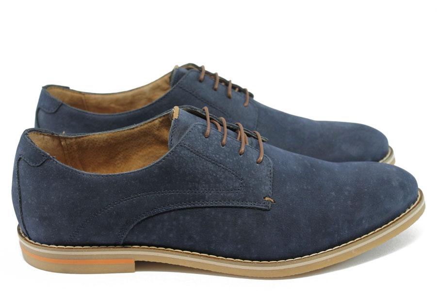Спортно-елегантни мъжки обувки - естествен набук - сини - EO-6285