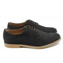 Спортно-елегантни мъжки обувки - естествен набук - черни - EO-6286