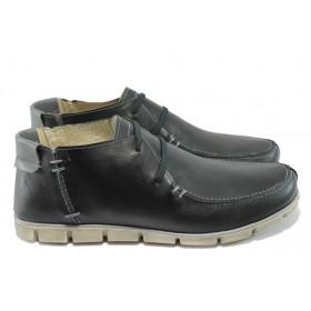 Мъжки обувки - естествена кожа - черни - EO-6302