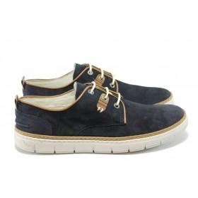 Мъжки обувки - естествен набук - сини - EO-6304