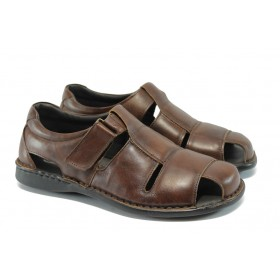 Мъжки сандали - естествена кожа - кафяви - EO-6363