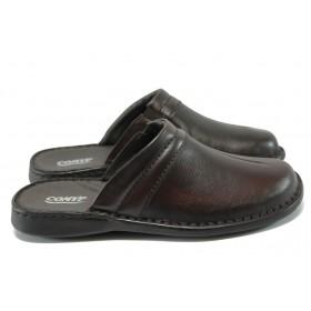 Мъжки чехли - естествена кожа - тъмнокафяв - EO-6362