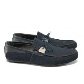 Мъжки обувки - естествен набук - сини - EO-6474