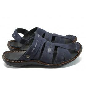 Мъжки сандали - естествен набук - тъмносин - EO-6492