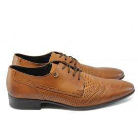 Елегантни мъжки обувки - естествена кожа с перфорация - кафяви - EO-6489