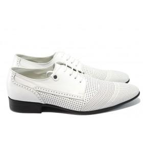 Мъжки обувки - естествена кожа с перфорация - бели - EO-6501