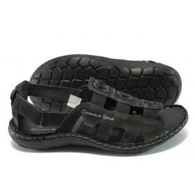 Мъжки сандали - естествен набук - черни - EO-6544