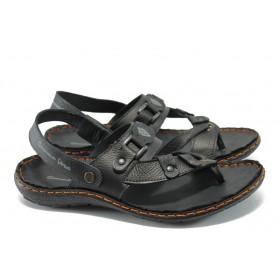 Мъжки сандали - естествена кожа - черни - МЙ 71172 черен