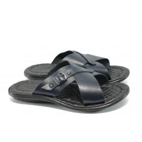Мъжки чехли - естествена кожа - сини - МИ 10 син