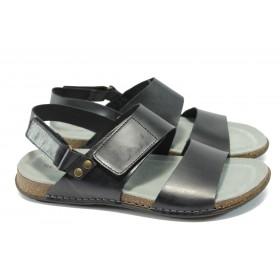 Мъжки сандали - естествена кожа - черни - EO-6594