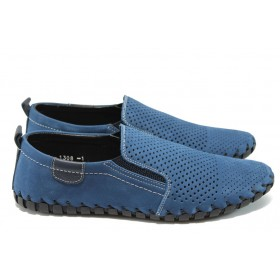 Мъжки обувки - естествен набук - сини - ФЯ 1308 син перф