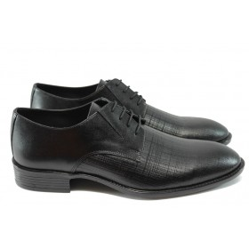 Елегантни мъжки обувки - естествена кожа - черни - ФЯ 7502 черен