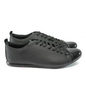 Спортни мъжки обувки - еко кожа-лак - черни - ЛГ 601 черен