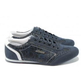 Спортни мъжки обувки - висококачествена еко-кожа в съчетание с еко кожа-лак - сини - ЛГ 614 син