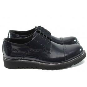 Равни дамски обувки - естествена кожа-лак - сини - EO-7692