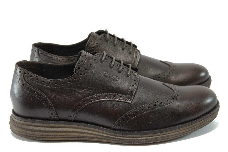 Мъжки обувки - естествена кожа - тъмнокафяв - EO-7281
