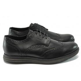 Мъжки обувки - естествена кожа - черни - EO-7282