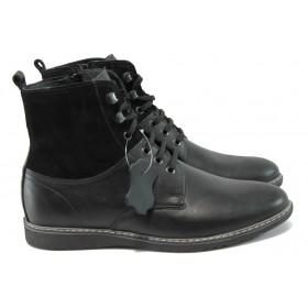 Мъжки боти - естествена кожа - черни - EO-7320