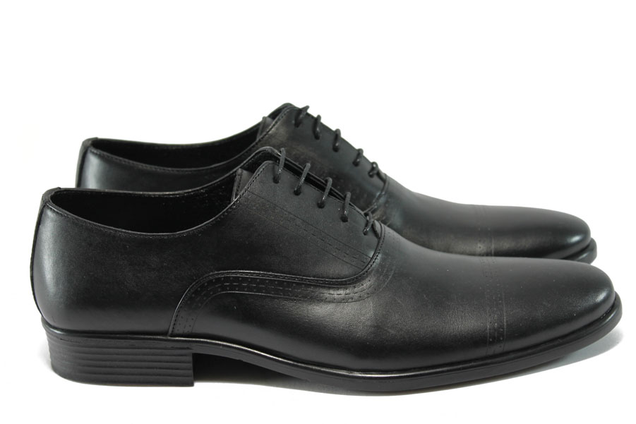 Елегантни мъжки обувки - естествена кожа - черни - EO-7353