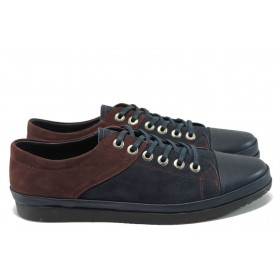 Мъжки обувки - естествена кожа - сини - EO-7580