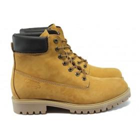 Мъжки боти - естествен набук - жълти - EO-7614