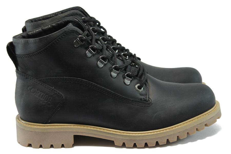Мъжки боти - естествена кожа - черни - EO-7616