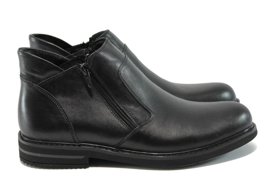 Мъжки боти - естествена кожа - черни - EO-7748