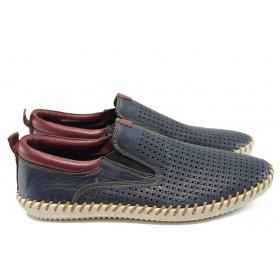 Мъжки обувки - естествена кожа - тъмносин - EO-7837