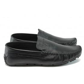 Мъжки обувки - естествена кожа - черни - EO-7836
