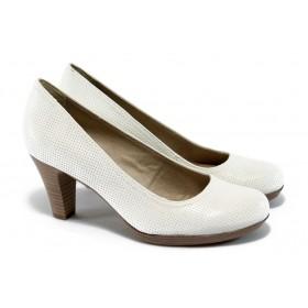 Дамски обувки на висок ток - естествена кожа - бели - EO-5772