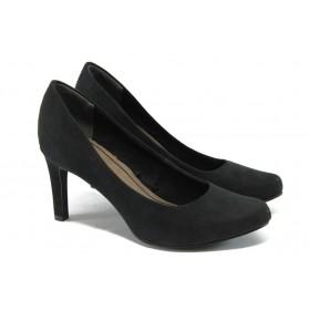 Дамски обувки на висок ток - висококачествен еко-велур - черни - EO-5754