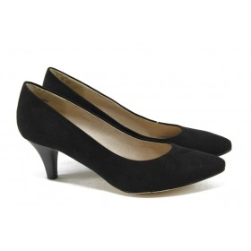 Дамски обувки на среден ток - висококачествен еко-велур - черни - EO-5755