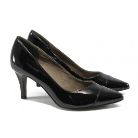 Дамски обувки на висок ток - еко кожа-лак - черни - EO-5760