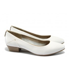 Дамски обувки на среден ток - естествена кожа - бели - EO-5770