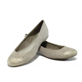 Равни дамски обувки - висококачествен еко-велур - бежови - EO-5752