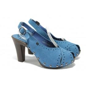 Дамски сандали - естествена кожа - сини - EO-5762