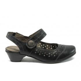 Дамски обувки на среден ток - висококачествена еко-кожа - черни - EO-5757