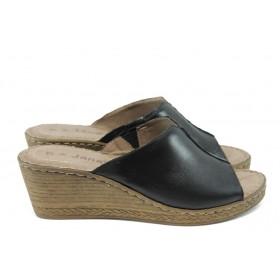Дамски чехли - естествена кожа - черни - EO-5768