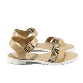 Дамски сандали - естествена кожа - бежови - EO-5766