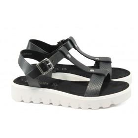 Дамски сандали - естествена кожа - кафяви - EO-5758