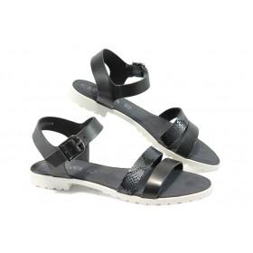 Дамски сандали - естествена кожа - черни - EO-5759