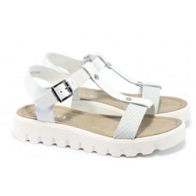 Дамски сандали - естествена кожа - бели - EO-5771