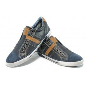Спортни мъжки обувки - естествена кожа - сини - EO-5801
