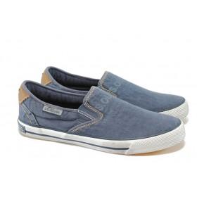 Спортни мъжки обувки - висококачествен текстилен материал - сини - EO-5804