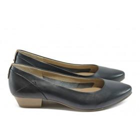 Дамски обувки на среден ток - естествена кожа - сини - EO-5796